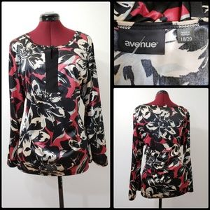 AVENUE WOMAN FORMAL COCKTAIL LONG SLEEVE BLOUSE